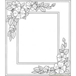 Photo Frame With Flowers Free Coloring Page for Kids