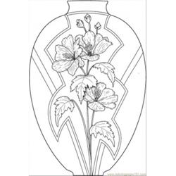 Vase With Flowers Free Coloring Page for Kids