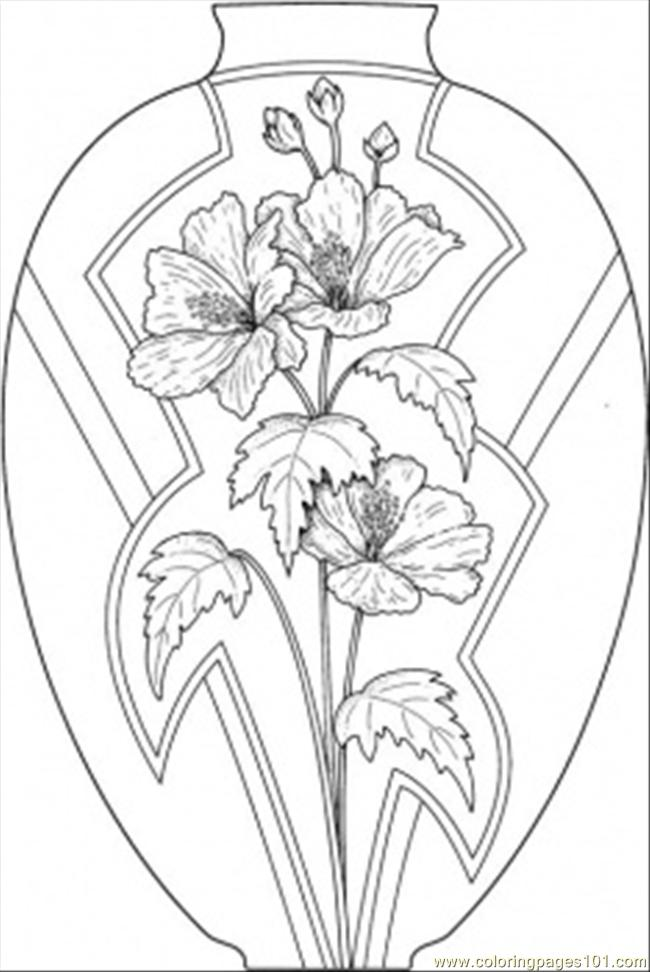 Vase With Flowers Coloring Page - Free Decorations ...