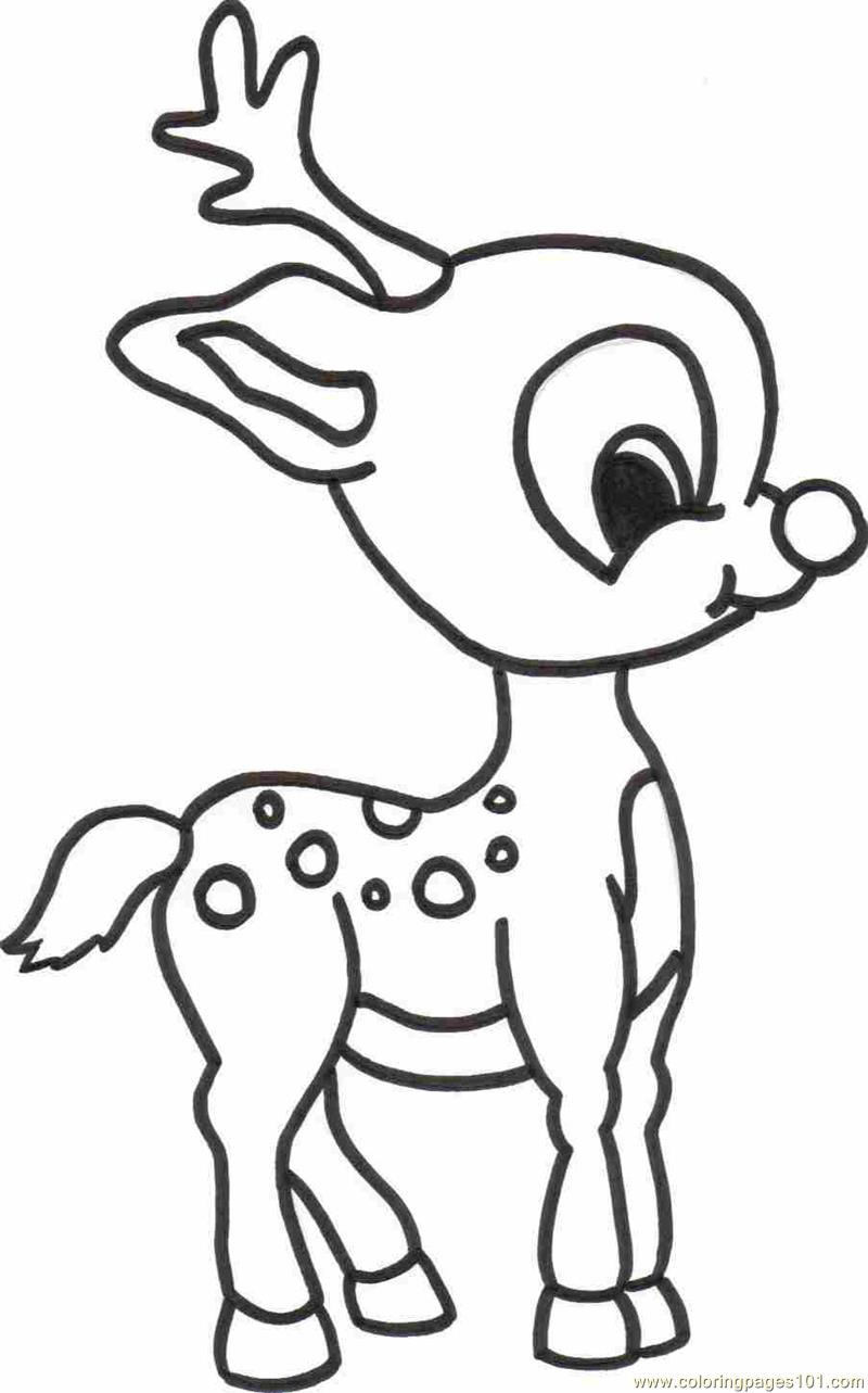 Baby Deer printable coloring page for kids and adults