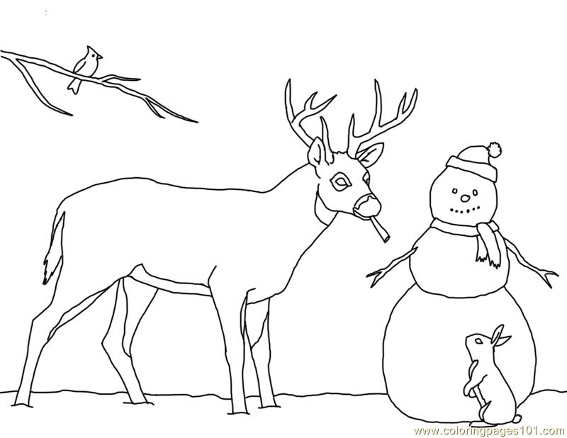 Christmas card deer snowman Coloring Page - Free Deer Coloring Pages