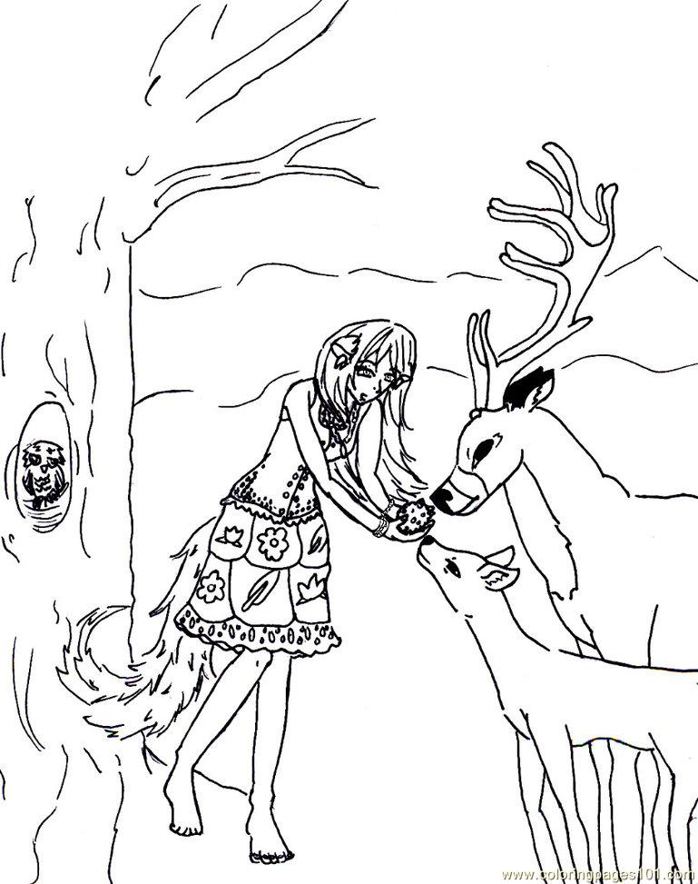 Feeding the deer Coloring Page