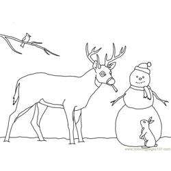 Christmas card deer snowman Free Coloring Page for Kids
