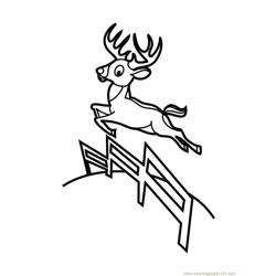 Deer Jumping Free Coloring Page for Kids