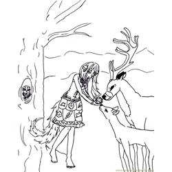 Feeding the deer Free Coloring Page for Kids