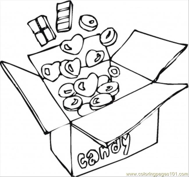 Box With Sweets Coloring Page