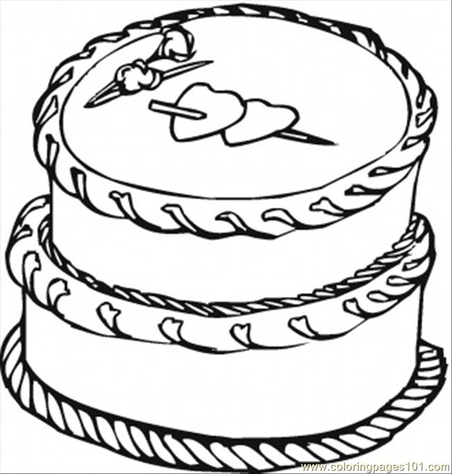 Cake With Big Hearts Coloring Page - Free Desserts ...