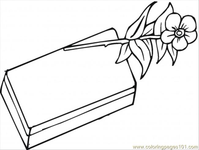 Chocolate And Rose Coloring Page