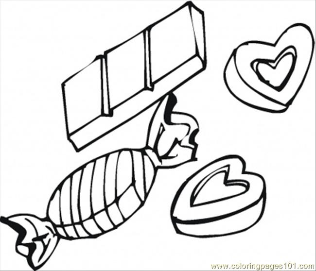 Chocolate Candies And Hearts Coloring Page - Free Desserts ...