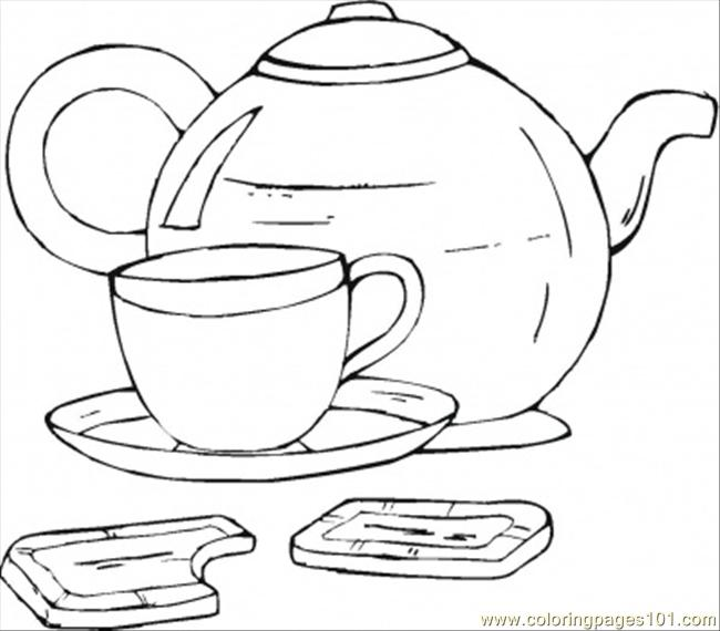Cup Of Tea With Chocolate Coloring Page