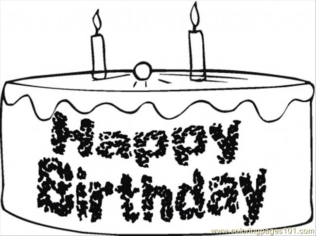 Happy Birthday Chocolate Cake Coloring Page