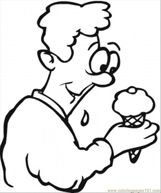 Happy Ice Cream Coloring Page