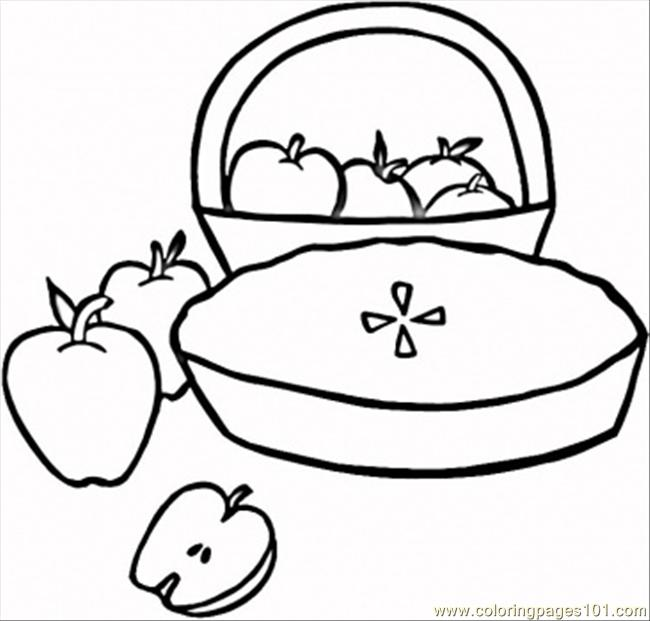 Pie With Apples Coloring Page Coloring Page - Free Desserts Coloring ...