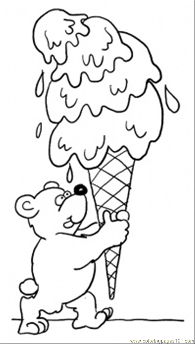Teddy Bear With Ice Cream Coloring Page - Free Desserts Coloring ...