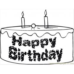 Happy Birthday Chocolate Cake Free Coloring Page for Kids