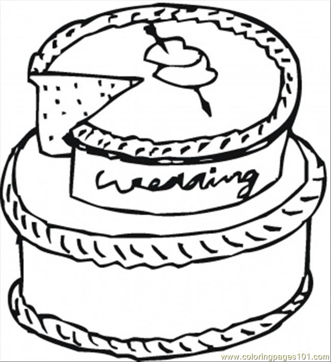 Wedding Cake Coloring Page Free Desserts Coloring Pages