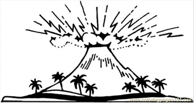 Great Volcano Coloring Page