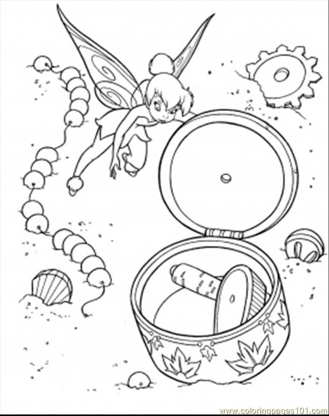 Tinkerbell Found Little Treasure Coloring Page