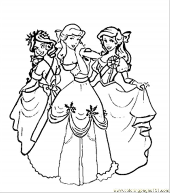 Christmas Disney Princesses Coloring Page