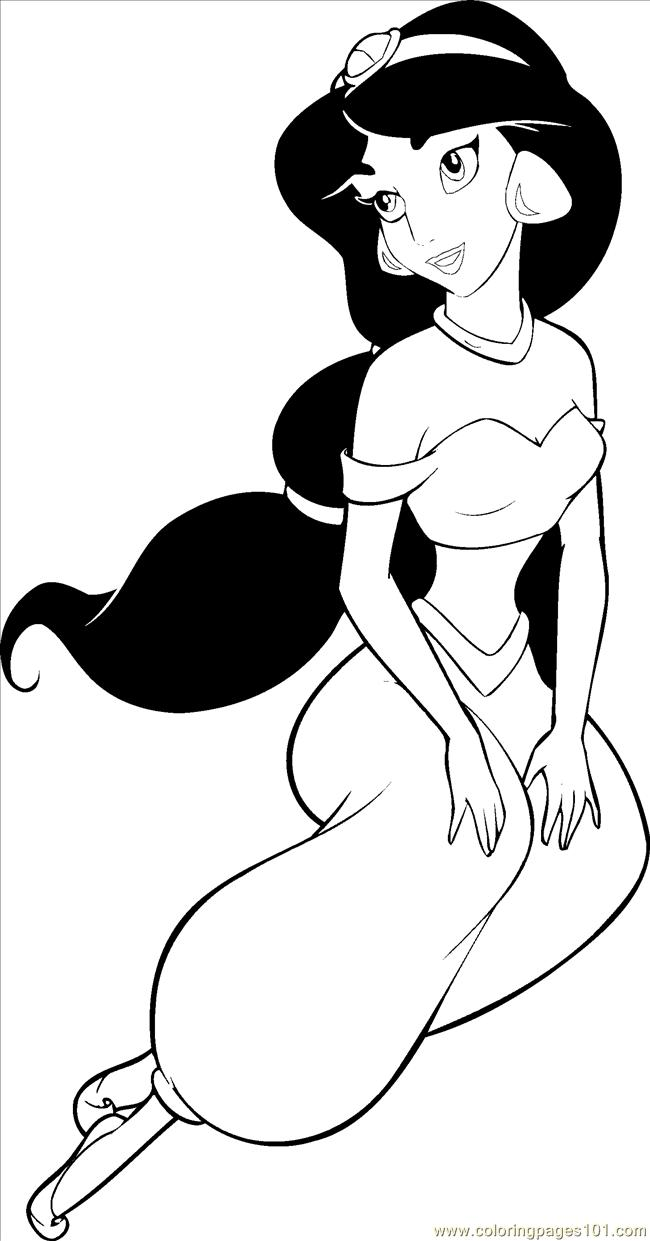 Princesses jasmine coloring coloring page free disney for Jasmine the princess coloring pages