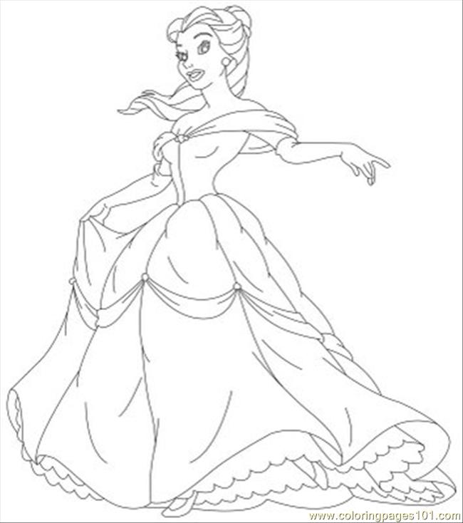 Ncess Coloring Pages Belle 05 Coloring Page Free Disney Princess