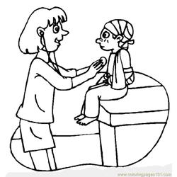 Doctor and Patient Free Coloring Page for Kids