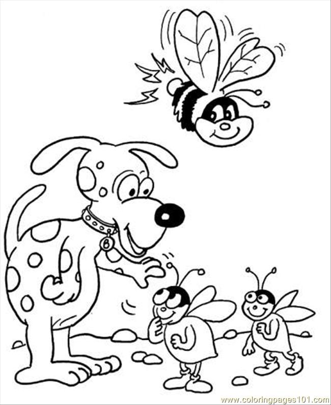 Bees With Dog Coloring Page Coloring Page