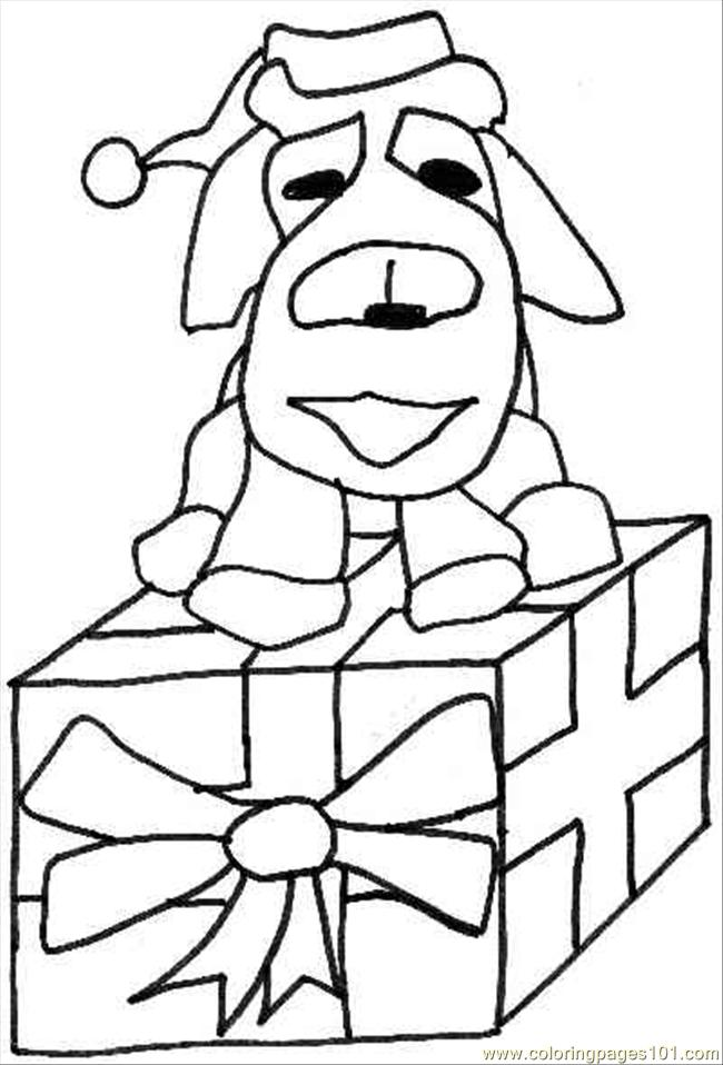 Christmas Present Dog Coloring Page