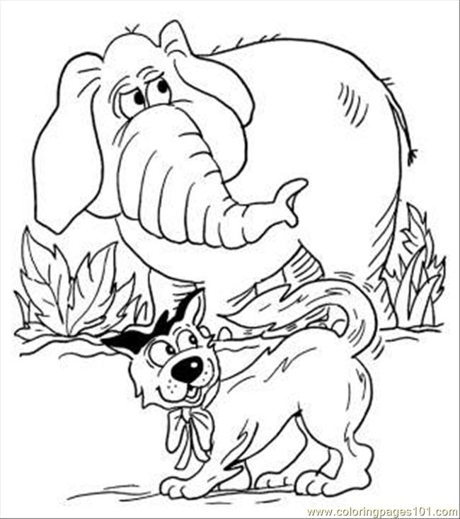 Lephant And Dog Coloring Page