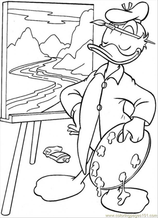 Painting Coloring Page Free Donald Duck Coloring Pages