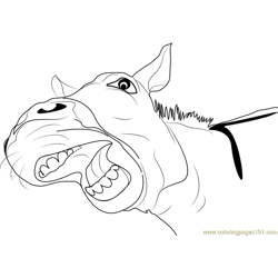 Donkey Smiling Free Coloring Page for Kids