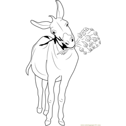 Donkey with Flowers Free Coloring Page for Kids