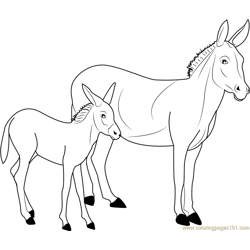 Donkey Free Coloring Page for Kids