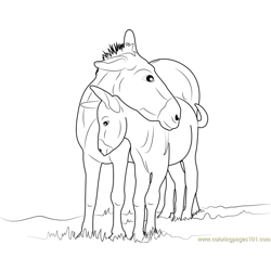 Mother and Baby Donkey Free Coloring Page for Kids