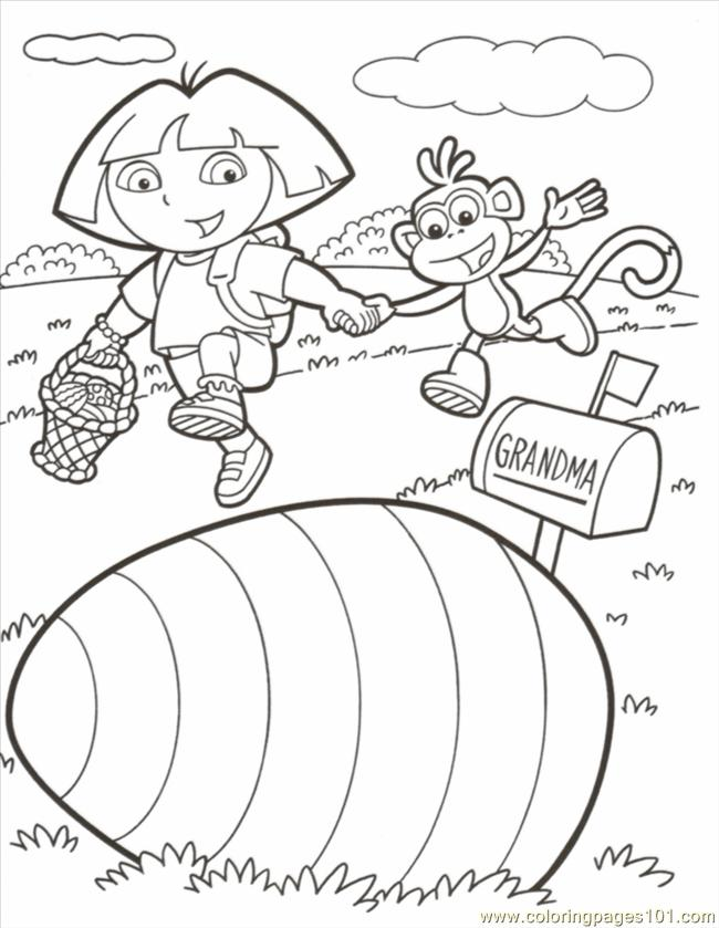 Dora Boots Easter Color Coloring Page