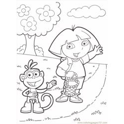 Dora Boots Easter Basket Free Coloring Page for Kids