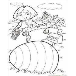 Dora Boots Easter Color Free Coloring Page for Kids