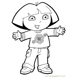 Dora Picture Free Coloring Page for Kids