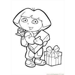 Dora The Explorer  Free Coloring Page for Kids