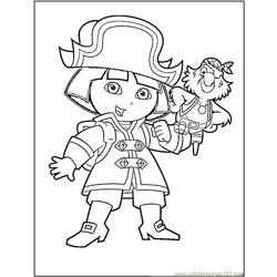 Dora The Pirate Free Coloring Page for Kids