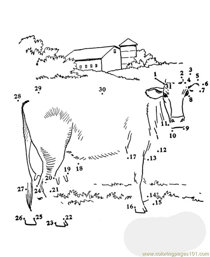 dot to dot cow coloring page