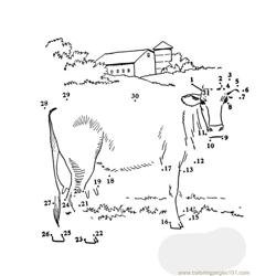 Dot to dot cow Free Coloring Page for Kids