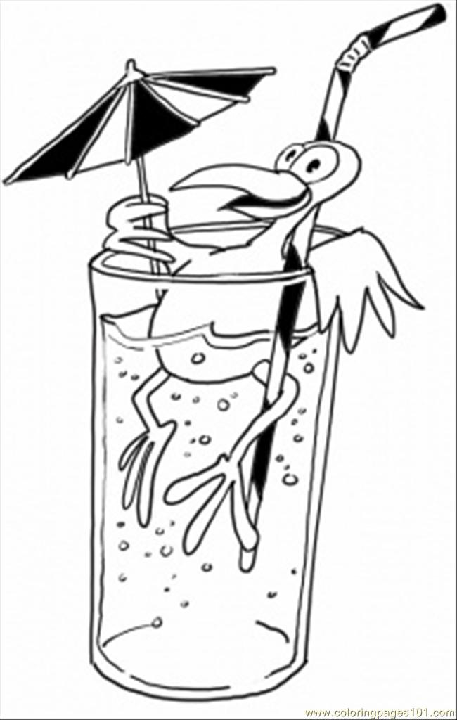 Bird Is Having A Drink Coloring Page
