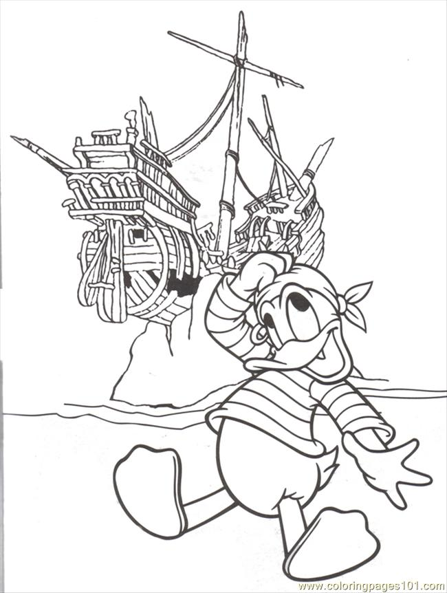Donald Pirate Ship Coloring Page