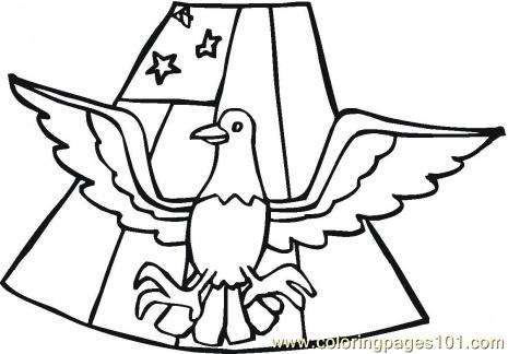 Flag And Eagle Coloring Page Vector