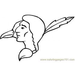 Ndian And Eagle  Free Coloring Page for Kids