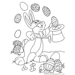 Easter bunnie showing magic Free Coloring Page for Kids