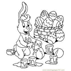 Easter bunnie decorating eggs Free Coloring Page for Kids