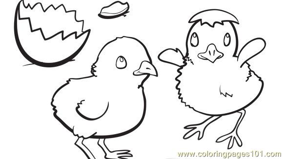 Easter chick egg shel Coloring Page