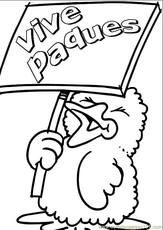 Easter chick showing playcard Coloring Page